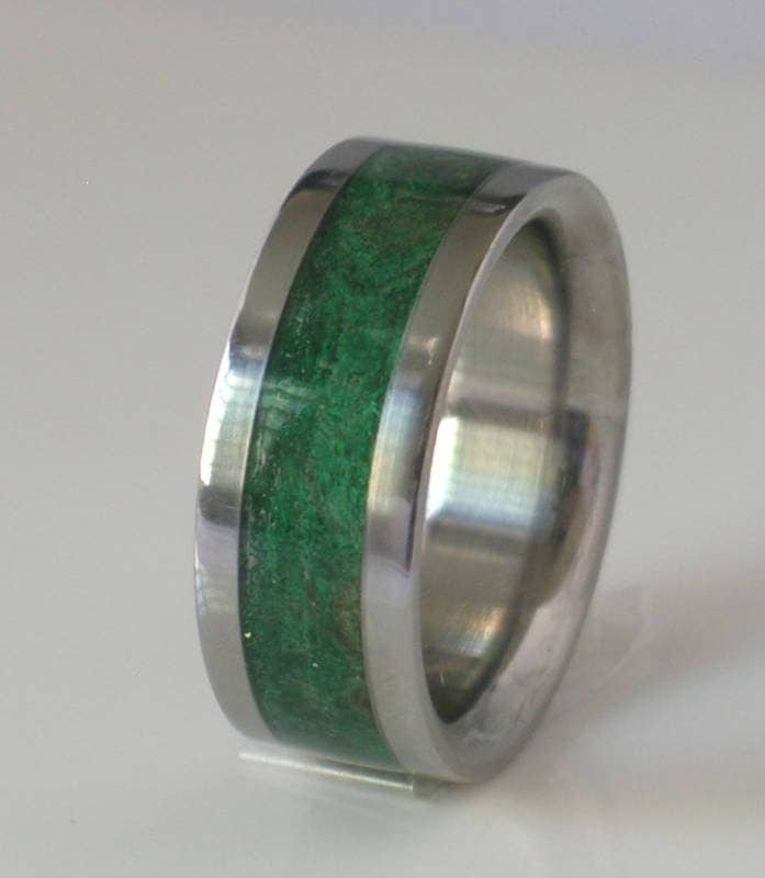 tungsten wedding band with green maple burl wood by usajewelry