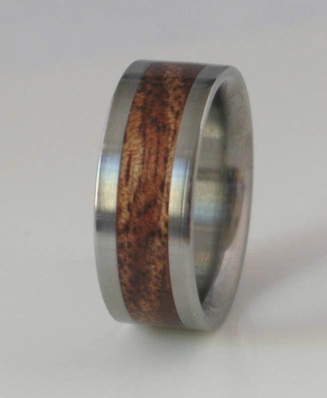 Wood Tungsten Bands: Tungsten Wedding Band Inlaid With Hawaiian Koa Wood By