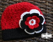READY to SHIP -- Size 2T-4T -- Ladybug Lovely Crocheted Hat with Flower -- Also available in Newborn to Adult Sizes