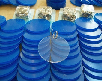 "Seventy Five Clear Acrylic Circles for Keychains 2.5"" Diameter and 1/8"" Thick"