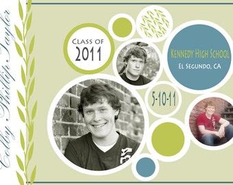Custom Printable Photo Graduation Announcement, Party Invitation - Circles