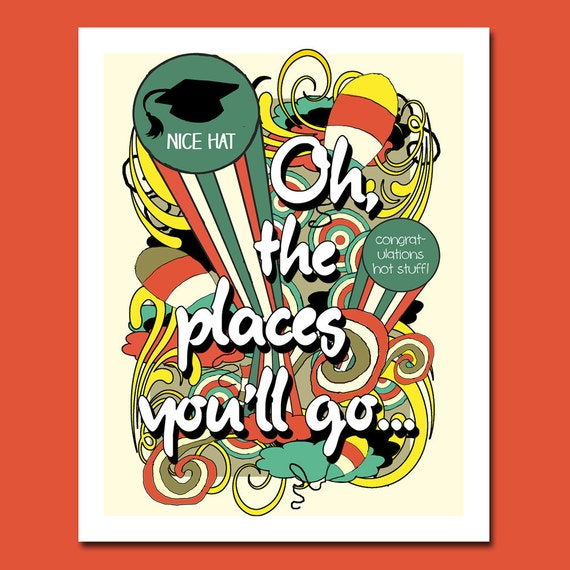Oh The Places You'll Go Poster, Printable Graduation Print, Congratulations Gift for Graduate