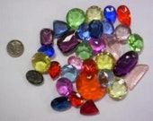1/4 lb Lg. Vintage Double Faceted Glass Jewel Asst. - missourijewel