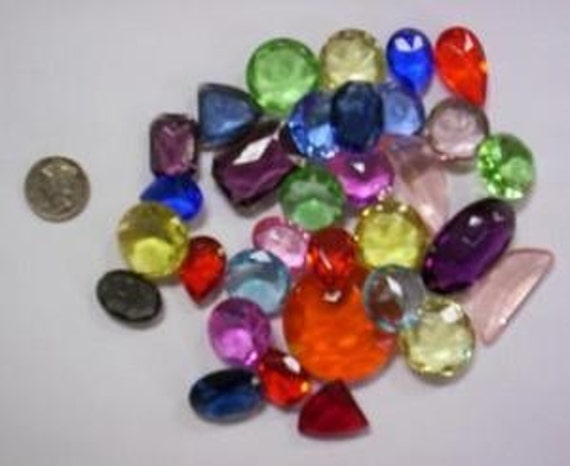 1/4 lb Lg. Vintage Double Faceted Glass Jewel Asst.