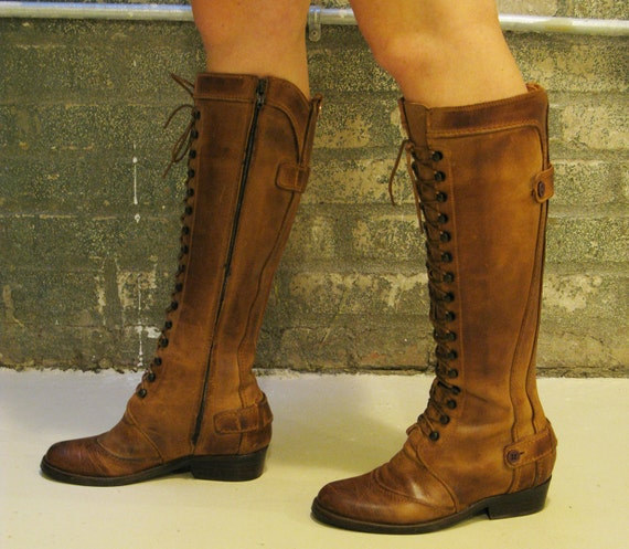 16 eyelet Lace up Knee High Brown Leather Womens Riding