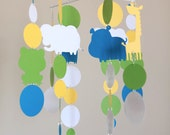 Zoo Animals Mobile - Elephant, Giraffe, Frog, Hippo