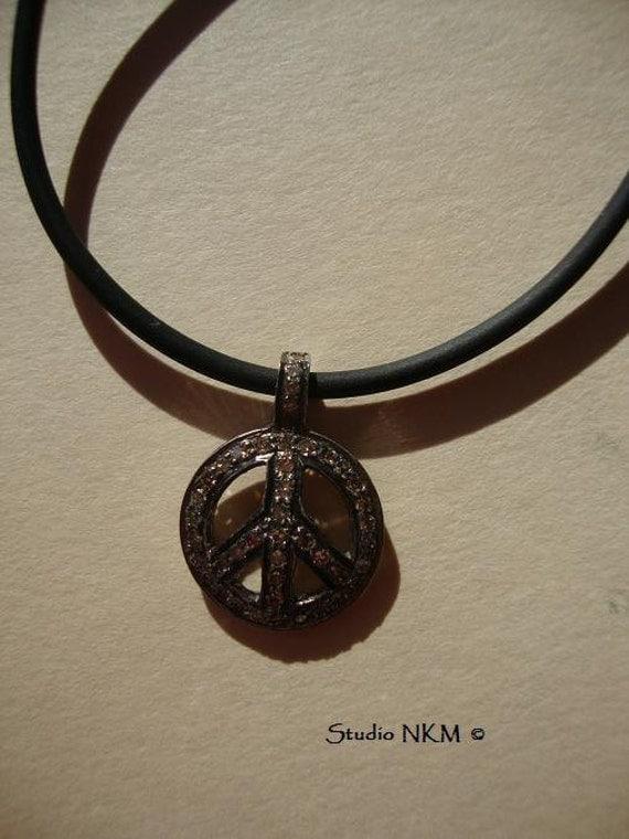 Champagne Diamond Peace Necklace