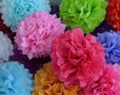 15 Party Tissue Paper PomPoms - Your Color Choice