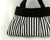 Pleated purse bag black and white Circus Stripe