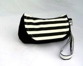 Nautical small flap wristlet clutch, black and white stripes
