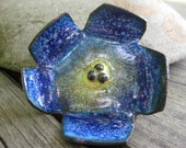 Enamel Flower Pin True Blue