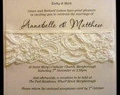 French Lace & Pearls Wedding Invitation SAMPLE