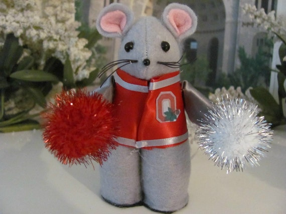 OSU, Ohio State,  Buckeyes, Scarlet and Grey Cheerleader Mouse Ornament
