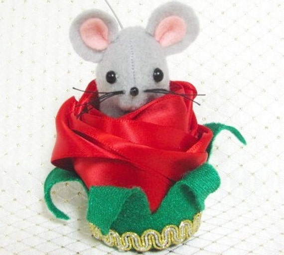 Handmade Felt Mouse in a Red Rose Bud