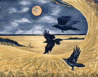Three Crows with Moon in Cornfield PRINT