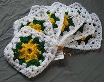 Crocheted Granny Squares - 15 Yellow Tan Green White Afghan Crochet Destash Upcycle Crochet Craft Home Sewing Blanket Clothing Crafting