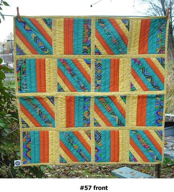 Lap Quilt Wall Hanging Tapestry Baby Crib Patchwork Quilted Fabric Lined Cotton Yellow Turquoise Ornge 57 Country Picnic Decor Cover Blanket