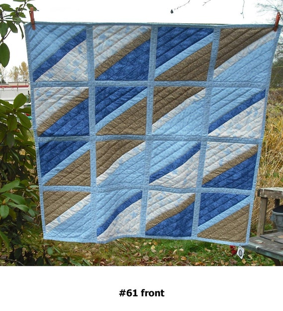 Lap Quilt Wall Hanging Tapestry Baby Crib Patchwork Quilted Fabric Lined Cotton Blend Gift Wedding Country Home DecorBlue White Tan 61