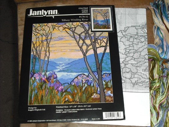 Destash Crafts - Janlynn Counted Cross Stitch Kit 178-52 Tiffany Winding River Irises Flowers Trees Nature 14 Count Aida Cotton Fabric