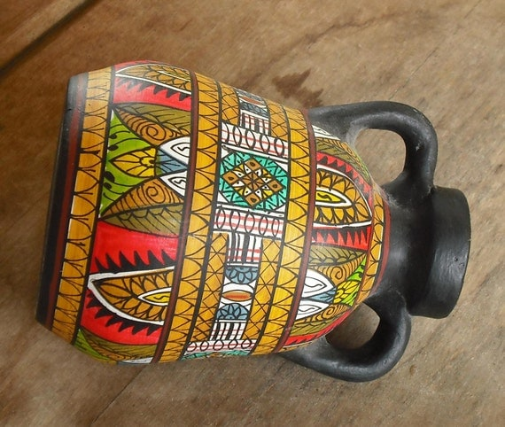 Vintage Clay Pottery Vase With Handles Black Hand Painted
