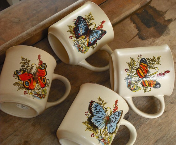 Vintage Butterfly Mugs Cups Set 4 Viking Korea Pottery Nature Butterfly Insect Hand Crafted Blues Oranges Flowers Floral