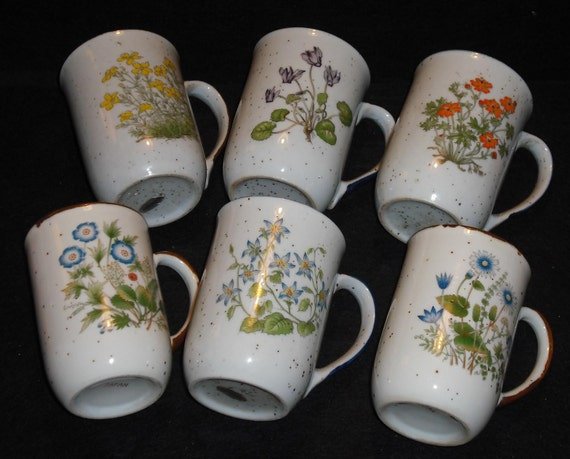 Vintage Counterpoint Floral Flower Mugs Cups Set of 6 Made in Japan Speckled Retro Home Country Kitchen Coffee Wedding Gift Dining Serving