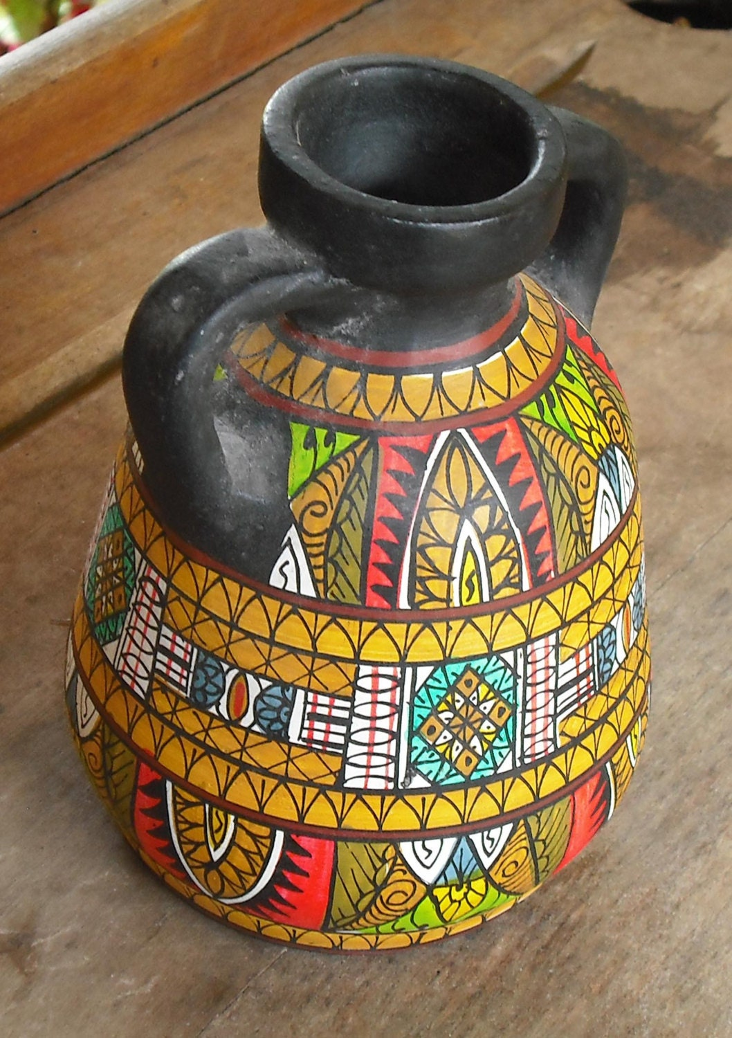 Vintage Clay Pottery Vase With Handles Black Hand By Suvasi