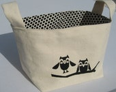 Adorable Little Owls on a Branch Fabric Basket- READY TO SHIP