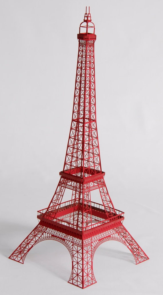 "22"" Papercraft Red Eiffel Tower Model with Full Observation Decks"