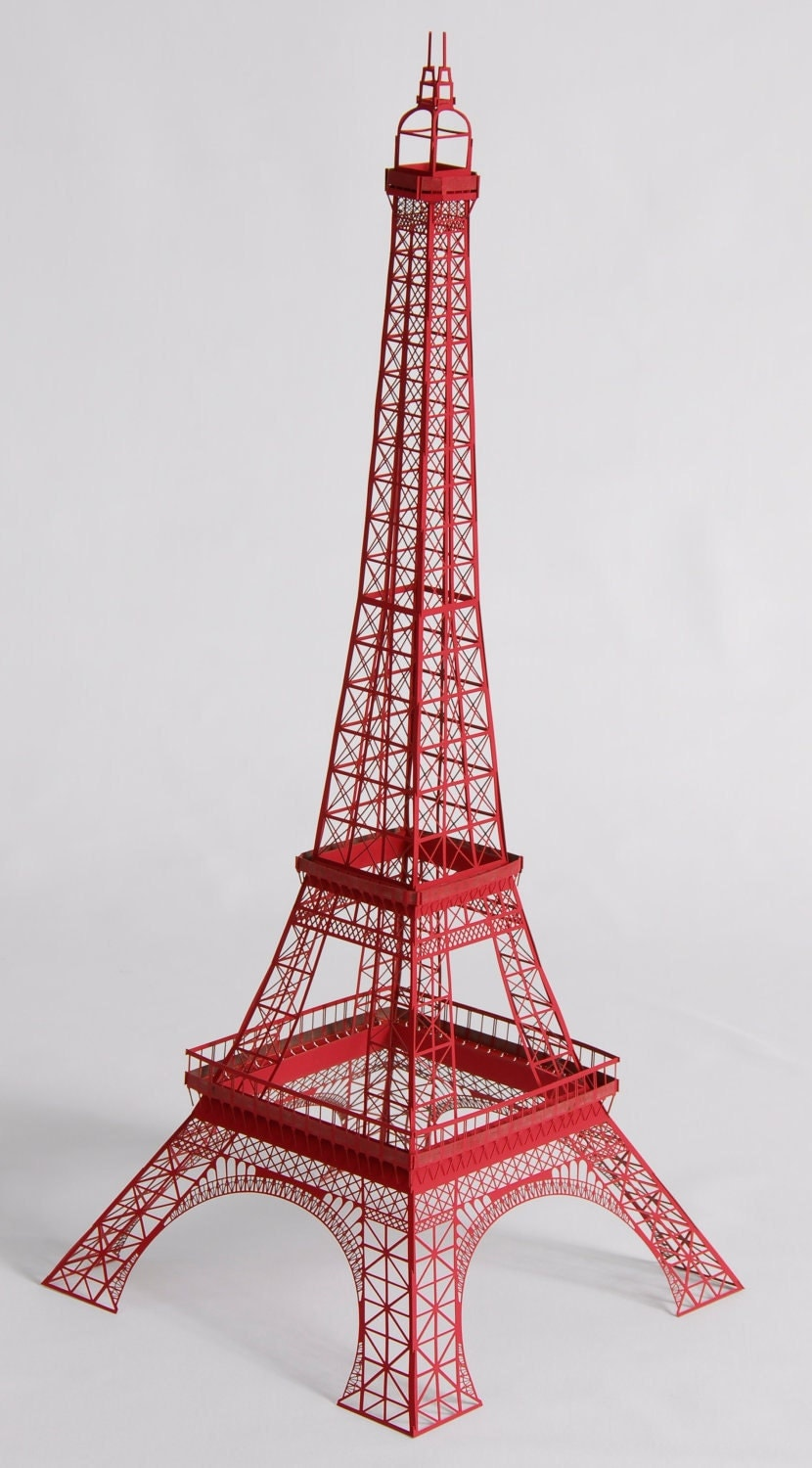 22 papercraft red eiffel tower model with full for Eiffel tower model template