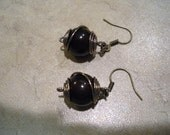 Handcrafted Wire Wrapped Dangling Dark Brown Earrings - SALE