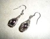 Dangling Sterling Silver Caged Peacock Pearl Earrings