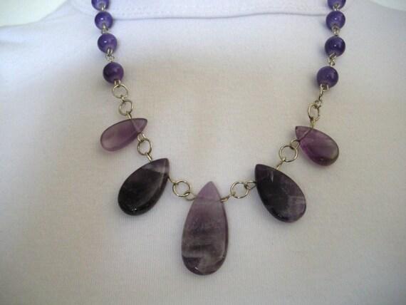 Amethyst Graduated Flat Pear Gemstone Beads Necklace