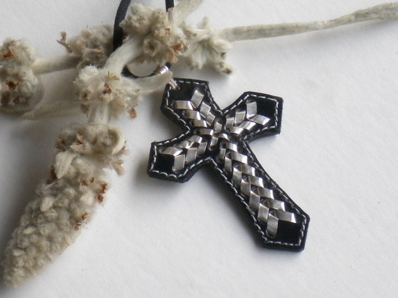 DEBRA'S DESTASH . Native American Navajo Made Black Leather & Fine Silver Cross Pendant