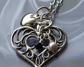 Filigree Heart Charm Necklace