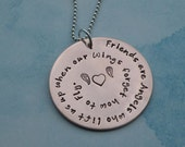 Copper Inspirational Quote Necklace (Friends are  Angels)
