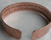Secret Message Poetry Copper Cuff Bracelet