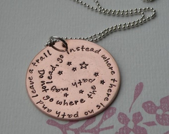 Copper Inspirational Quote Necklace