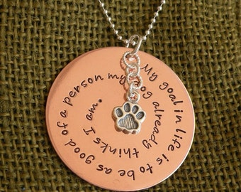 Paw Print Copper Inspirational Quote Necklace