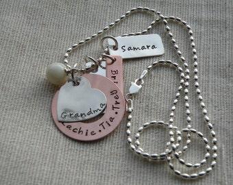 Mixed Metal Grandma Love Tag Necklace