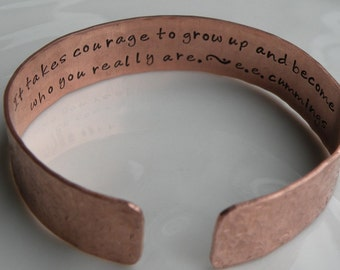 Secret Message Poetry Copper Cuff Bracelet