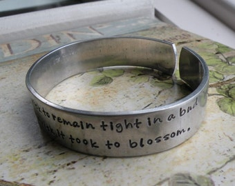 Two Line Aluminum Inspirational Quote Cuff Bracelet