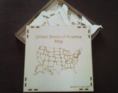 United States of America -USA MAP - Wood Puzzle with 3mm plywood (30.8 x 18.9 inches)