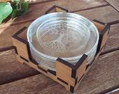 Tree Of Life Glass Coaster - 4 pieces with orange wood base