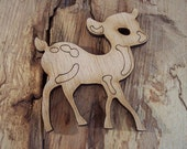 2 pieces Wood Deer design - Plywood 4 mm Unfinished - Ready to paint