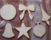 6 pieces of  Christmas design set - Plywood 4 mm Unfinished - Ready to paint