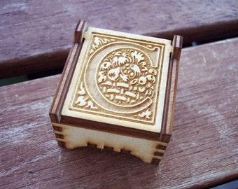 Secret Wood Box - Letters Collection - C -