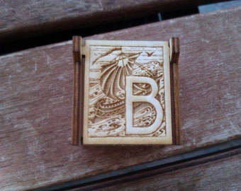 Secret Wood Box - Letters Collection - B -