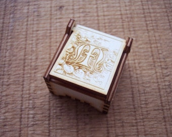 Secret Wood Box - Letters Collection - M -