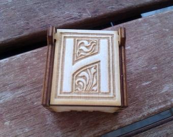 Secret Wood Box - Letters Collection - H -